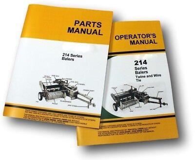 OPERATORS PARTS MANUAL SET FOR JOHN DEERE 214 214T 214WS BALER CATALOG - Parts Catalog Operators Manual