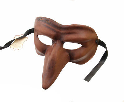 Mask from Venice to Long Nose Capitano Brown Leather Genuine Thick 934 V4