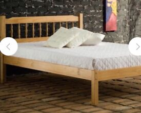 Pine double bed frame with memory foam pocket mattress