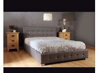 Designer king size ottoman bed grey and black new boxed