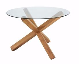 Glass Round Dining Table With Light Oak Legs {Brand New}