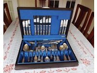 """USED EBEN-PARKER SHEFFIELD SILVER PLATED CUTLERY """"ANGORA"""" CANTEEN SET:£80.00"""