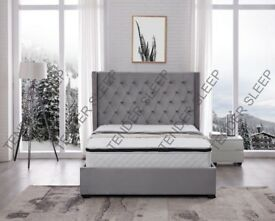 GREY (OTTOMAN)PLUSH VELVET BED IN DOUBLE/KING SIZES AVAILABLE WITH HARD/FOAM MATTRESS