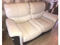 Two two seater settees cream and brown very good condition one two seater electric recliner