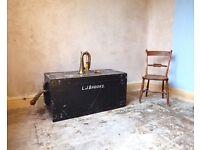Vintage Military Pine Storage Chest / Coffee Table / Blanket Box