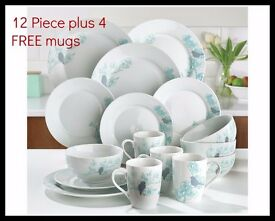 12 Piece Spring Blossom Dinner Set - Plus 4 FREE Mugs Brand New Boxed (online shop)