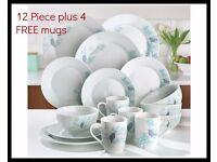 12 Piece Spring Blossom Dinner Set - Plus 4 FREE Mugs Brand New Boxed (online shop)