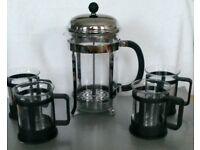 BODUM 6 Cups Cafateire With 4 BODUM Glass Cups