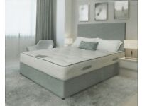 Brand New Stylish Grey Fabric Divan Bed incl. Headboard.*** FREE Delivery throughout NI***
