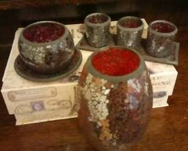Pretty rustic Sparkly Vase and candle holder set