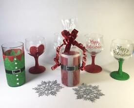 Hand painted Christmas Glitter glasses. With diamanté detail and Gift wrapped.