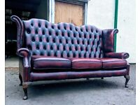 3 seater oxblood red highback chesterfield queen anne sofa DELIVERY AVAILABLE