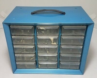 Vintage Metal Akro Mils 15 Drawer Tool Parts Crafts Cabinet. Storage