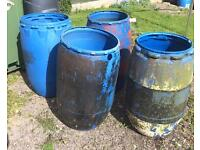 Large plastic drums planters/water butts