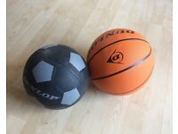 Soccer ball and basketball