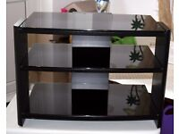 Black Glass and Metal TV Stand