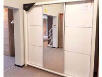 EX DISPLAY Siena 3 Sliding Door Mirror Wardrobe in White Gloss