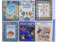 6 BOOKS stenciling painting ceramics art & crafts pottery mosaics guide fanciful fabrics D.I.Y