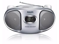 Philips AZ105S-05 Portable CD Player with FM Tuner in White & Silver (EX SHOP DISPLAY)
