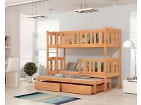 NEW SOLID CHILDRENS 3 SLEEPER BUNK BED IN PINE WITH MATTRESSES AND 2 DEEP STORAGE DRAWERS