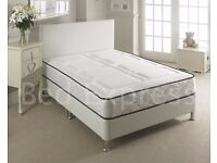 Small 4FT Double duvan bed frame in white with 1500 pocket spring mattress