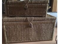 Set of Two Large Wicker / Rattan Chests