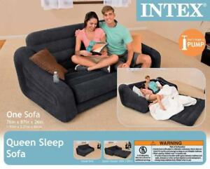 New Intex Inflatable Queen Size Pull-Out Sofa Couch Bed, Dark Gray | 68566EP PU3