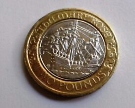 2011 - MARY ROSE - 500TH ANNIVERSARY - TWO POUND COIN - Royal Mint Abnormality