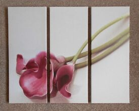 A BEAUTIFUL 3 PANEL PINK LILY CANVAS - EXCELLENT CONDITION
