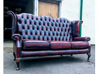 3 seater highback queen anne chesterfield leather sofa VGC DELIVERY AVAILABLE