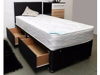 3ft Single Bed with 2 Drawers + Headboard (Brown Leather). No Mattress Included
