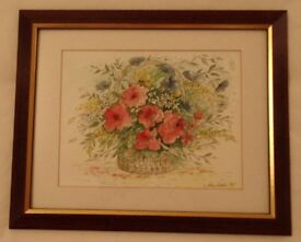Jean Locke Summer Flowers Watercolour and Pen Painting 41 x 33cm