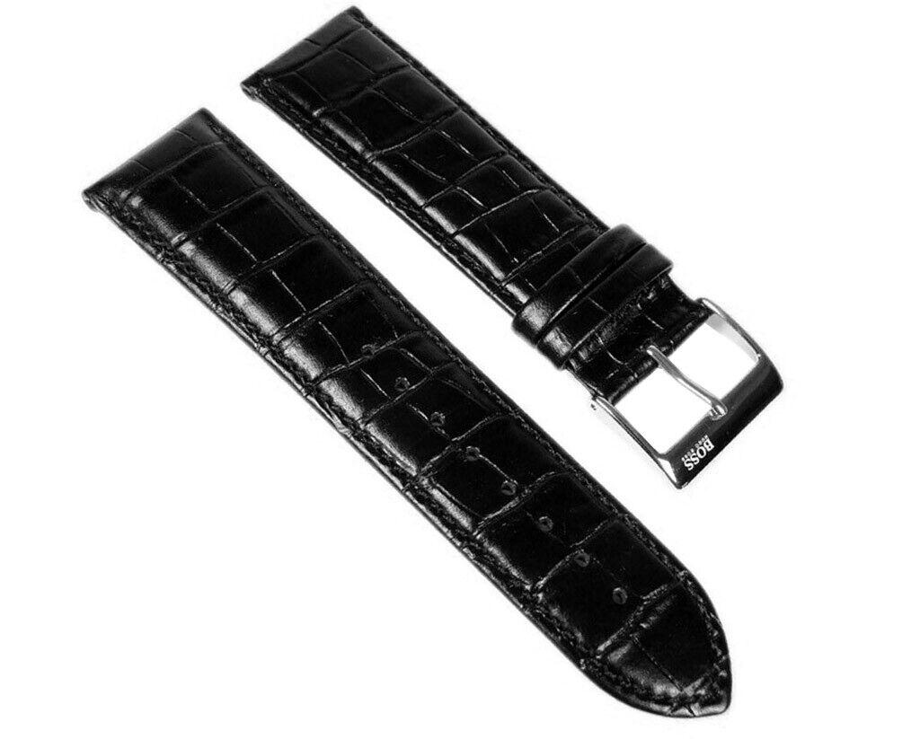 Hugo Boss Ersatzband Uhrenarmband Leder Band 24mm Schwarz 1512358