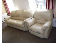 SOFT LEATHER SETTEE AND 1 CHAIR