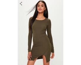 Khaki Bodycon midi dress