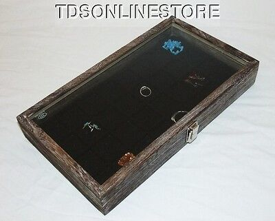 Rustic Antique Coffee Color Glass Top Display 32 Slot For Jewelry Etc