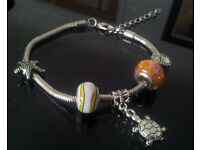 """pandora style snake bracelet 7.5"""" long. brand new. £9. charms available from £1 each."""