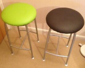 2 X stool black and green design by Ness company Made in UK for kitchen bar dining room restaurant