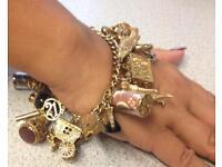 9ct Gold Charm Bracelet, 94g