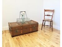 Vintage Bentwood Steamer Trunk / Coffee Table
