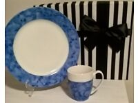 "Hand Painted China ""One Of"" Blue Marbled Mug and Plate Set with Gift Box"