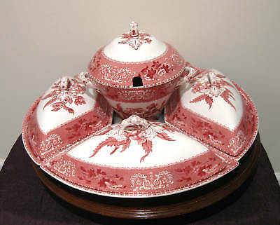 RARE Spode Red Camilla Canterbury Set or Lazy Susan