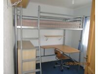 JAYBE HIGH SLEEPER LOFT BED WITH INTEGRAL DESK + CHAIR + FUTON BED