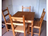 Small square dining room table and 4 chairs
