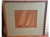 Marquetry picture of 3 sailing boats