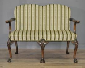 Attractive Vintage Carved Mahogany Two 2 Seat Settee Hall Seat for Reupholstery