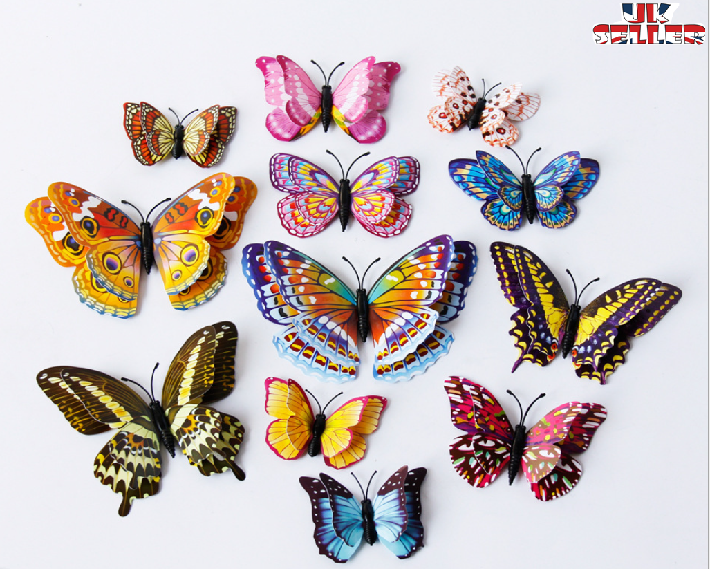 Home Decoration - 12pcs Butterfly 3D Wall Stickers Wall Decors Wall Art Wall Home Decorations UK