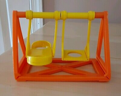 Vintage Fisher Price little people school/playground yellow/orange swingset