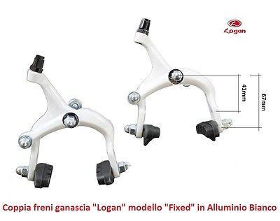Coppia Freni a Ganascia LOGAN in Alluminio Bianco per Bici 26