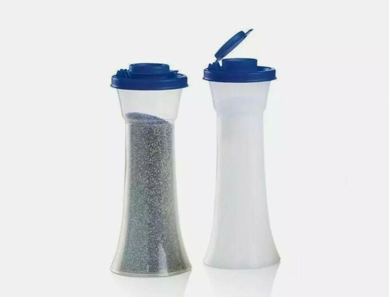 Tupperware Large Hourglass Salt and Pepper Shakers Tokyo Blue Set